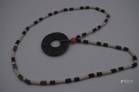 CHINESE ANCIENT JADE BI DISK NECKLACE