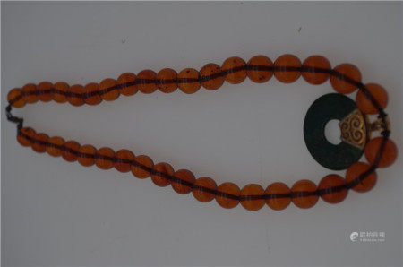CHINESE JADE BI DISK AMBER BEAD NECKLACE
