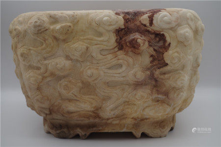 CHINESE WHITE STONE CLOUD AND DRAGON SQUARE PLANTER