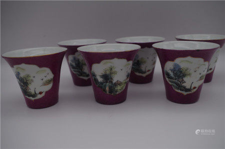 SIX CHINESE PORCELAIN FAMILLE ROSE MOUNTIAN VIEWS CUPS