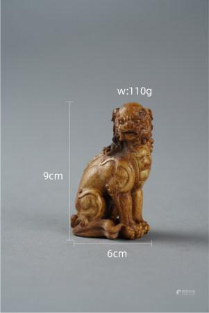清代鹿角狮子 Antler Lion Ornament from Qing