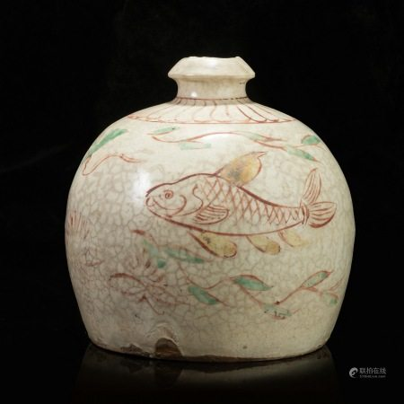 元代鱼藻纹咕噜瓶 Sea Grass Grain Prunus Vase from Yuan