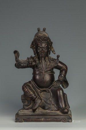 清代铜关公座像 Copper GuanGong Statue from Qing