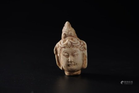唐代白石佛头 White Jade Buddha Head from Tang