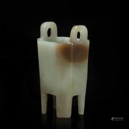 清代白玉炉 White Jade Censer from Qing