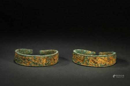 辽代铜鎏金手镯 Copper and Golden Bracelet from Liao