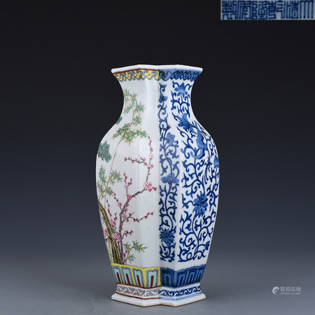 Famille Rose Vase Qianlong Style