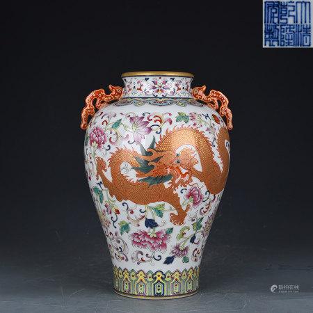 Falangcai Dragon and Phoenix Jar