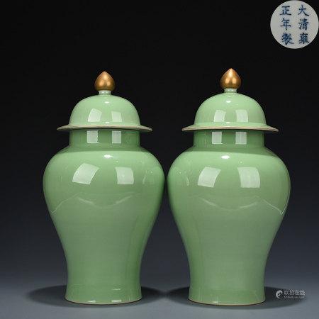 Pair Apple Green Glazed Garnitures Yongzheng Style