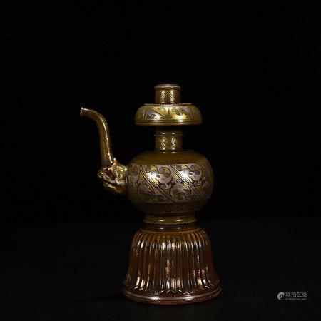 Aubergine Glazed and Gilt Bumpa Qianlong Style