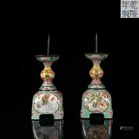 Pair Painted Enamel Candlesticks