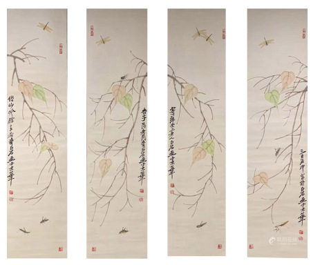 Four Pages ofChinesePaintingByQiBaishi
