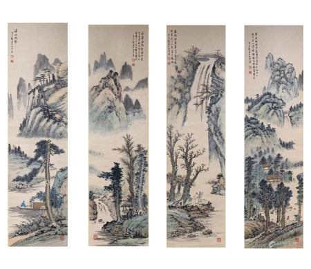 Four Pages ofChinesePaintingByHuang Junbi