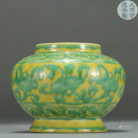 Yellow Ground Green Enameled Jar