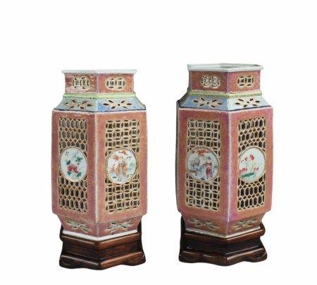 Antique Pair of Openwork Porcelain Lamps