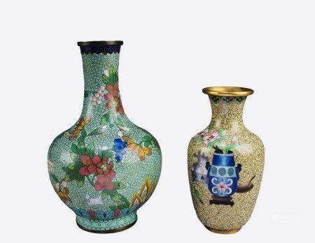 Two Pieces of Antique Cloisonne Vases
