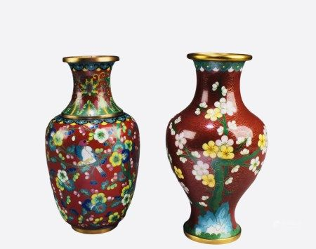 Two Pieces of Cloisonne Vases