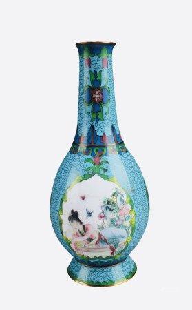 Antique Cloisonne With Enamel Vase