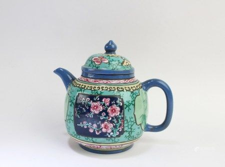 A Zisha with Enamel Teapot