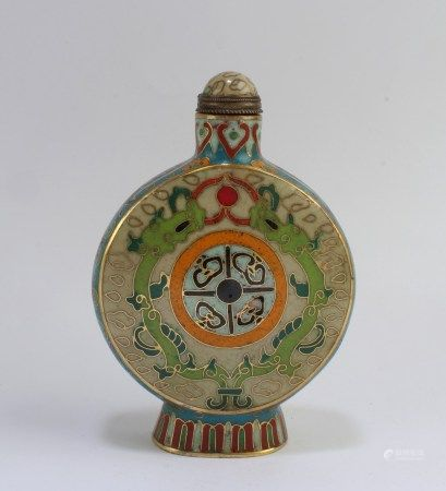 Chinese Cloisonne Glass Snuff Bottle