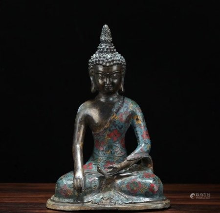 晚清民国 铜胎景泰蓝雕释迦摩尼坐像