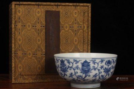 明成化-青花缠枝莲托八宝碗