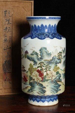 清乾隆-青花粉彩山水棒槌瓶