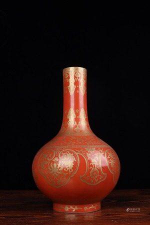 清道光-矾红描金缠枝如意纹天球瓶