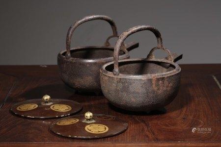 昭和早期鐵溫酒器金蒔繪蓋子