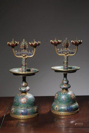 清代銅胎掐絲琺瑯宮廷燭臺