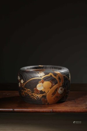 昭和时期金莳绘嵌螺钿釜