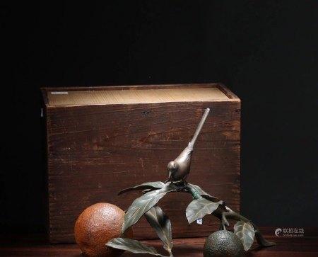 昭和时期 铜雕《秋实》摆件(带原木盒)