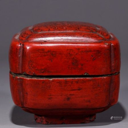 剔红锦地花卉纹倭角香盒