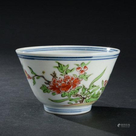清康熙 五彩花卉紋杯 八件