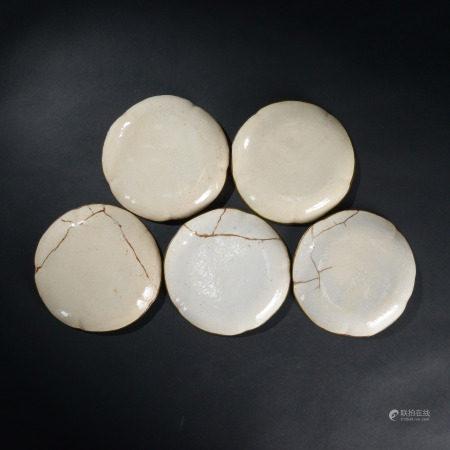 清代 哥釉花口盤 五件