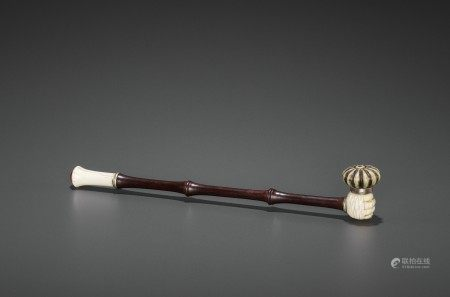 A HARDWOOD OPIUM PIPE WITH HARDSTONE & COPPER FITTINGS