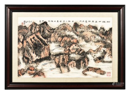 LAI QISHAO: FRAMED INK AND COLOR ON PAPER PAINTING 'MOUNTAIN SCENERY'