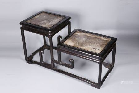 ZITAN WOOD AND STONE INSET TIERED RECTANGULAR STAND