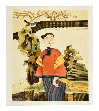 HU YONGKAI: OIL PAINTING ON CANVAS 'LADY'