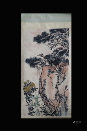 PAN TIANSHOU: INK AND COLOR ON SILK PAINTING 'EAGLE'