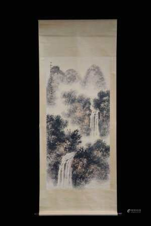 FU BAOSHI: INK AND COLOR ON PAPER PAINTING 'LANDSCAPE SCENERY'