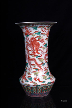 WUCAI 'DRAGON AND CLOUDS' VASE
