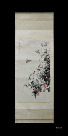 BIRD FLOWER SCROLL