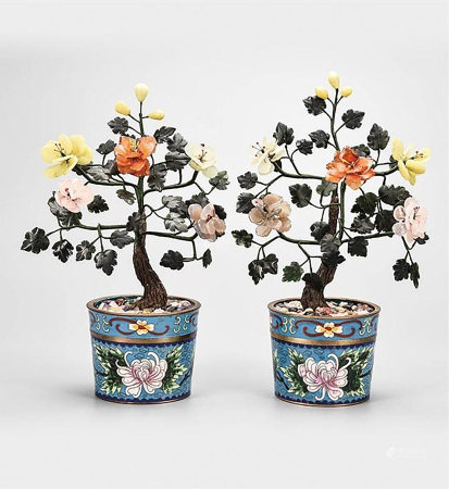 PAIR OF CLOISONNE ENAMELED AND SEMI-PRECIOUS STONE CARVED FLOWER PLANTERS