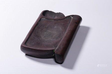 BROWN CLAY CARVED 'PAPER SCROLL' INK PAD