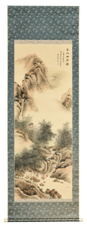 SHEN ZONGJING: INK AND COLOR ON SILK PAINTING 'MOUNTAIN SCENERY'
