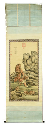 ZOU YIGUI: INK AND COLOR ON PAPER SILK 'LIONS'