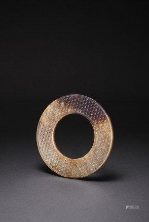 漢代 白玉帶沁谷紋環