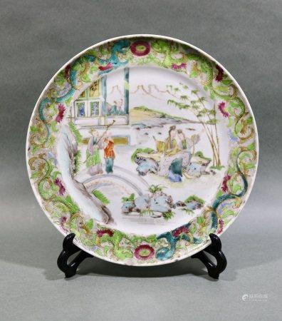 清咸豐時期 粉彩人物盤