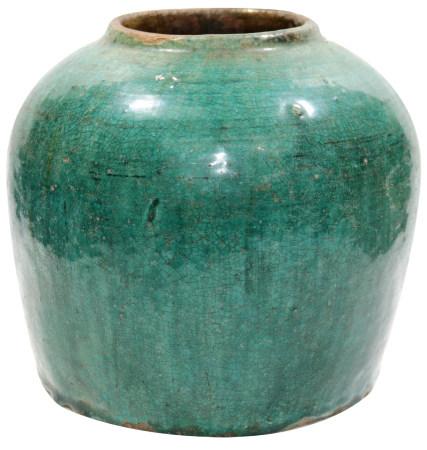 清末民初 單色綠釉罐